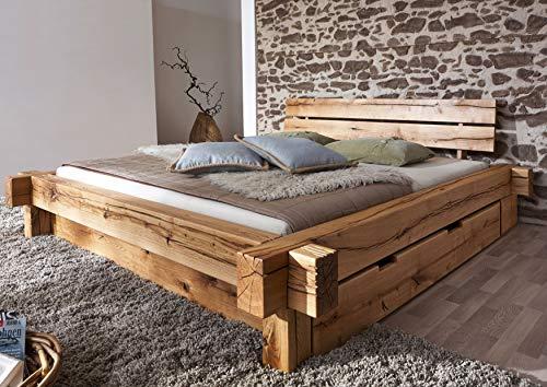 MASSIVMOEBEL24.DE Balkenbett mit Bettkasten Wildeiche 180x200x85 Natur geölt JANGALI #620