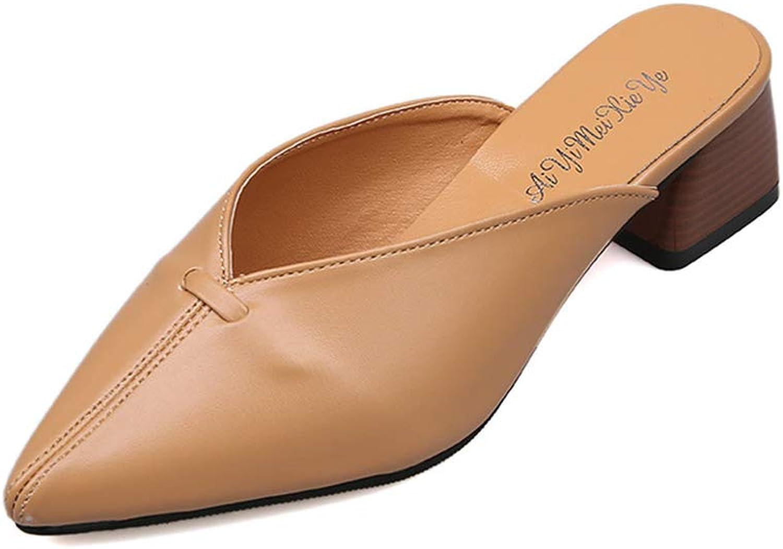 FLourishing Women's Solid color Slippers Pointed Toe Cuunky Block Heel Slip On Block Heel Sandals Mules