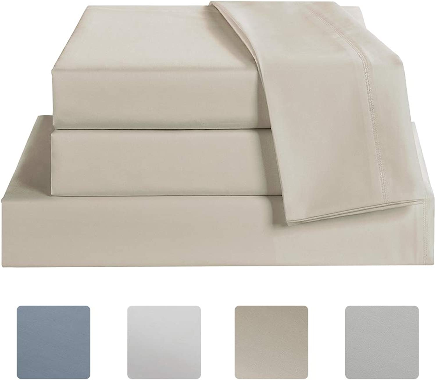 Bed Sheet Set Queen Size Sheets Set 4 Piece, 600 Thread Count 100% Long Staple Cotton Bedding Set, Sateen Weave, 18  Deep Pocket, Breathable & Fade Resistant(Queen, Linen)