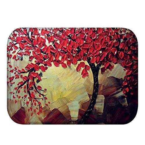 Patpan Ölgemälde Baum Coral Velvet Mat Küchentür-Eingangs-Anti-Rutsch-Teppiche Bad Wohnzimmer Teppiche