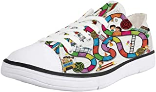K0k2t0 Canvas Sneaker Low Top Shoes,Board Game,Game on Notebook Paper Kids and Building School Route Fun Challenge Enjoyment Decorative