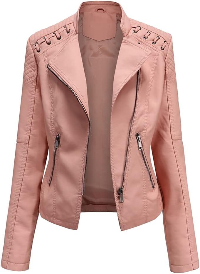GELTDN Spring Women's Leather Jacket Slim Turn-Down Collar Short PU Leather Jacket Women Zipper Motorcycle Jackets Outwear Female (Color : Color 5, Size : 3XL Code)