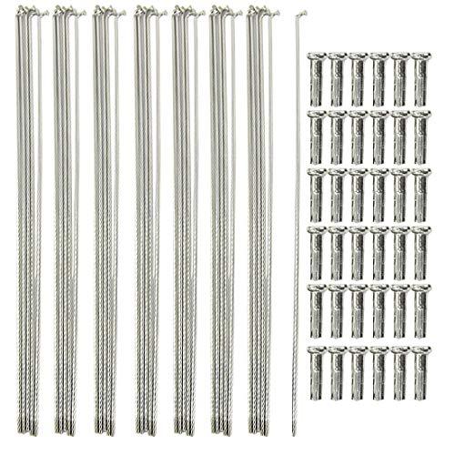 Weichuang 36 Speichen mit Nippel Stahl Fahrradspeichen für Rennrad Mountainbike, langlebig Stark, Fahrradteile Silber 290mm