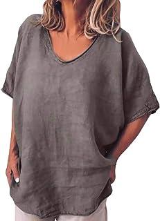 Women O-Neck Short Sleeves Tops, Ladies Summer Solid Plus Size T-Shirt Blouse Sweatshirt Top