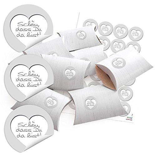 24 kleine Geschenkschachteln Geschenk-Boxen Karton Holz-Optik weiß 14,5 x 10,5 cm + Aufkleber SCHÖN, DASS DU DA BIST grau Herz für Gastgeschenke Hochzeit Kommunion Fest