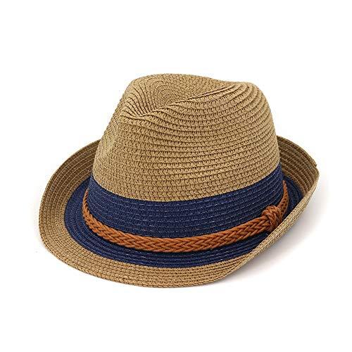 JIANGJINLAN vrouwen cilinder Jazz hoed ouder-kind strohoed strohoed strohoed zonnescherm kleur hoed strepen oranje gevlochten touw stroh zonnehoed 56/58 cm 3