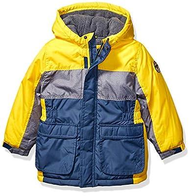 Osh Kosh Boys' Little Heavyweight Colorblock Puffer Coat, Curry/Grey/Blue, 7