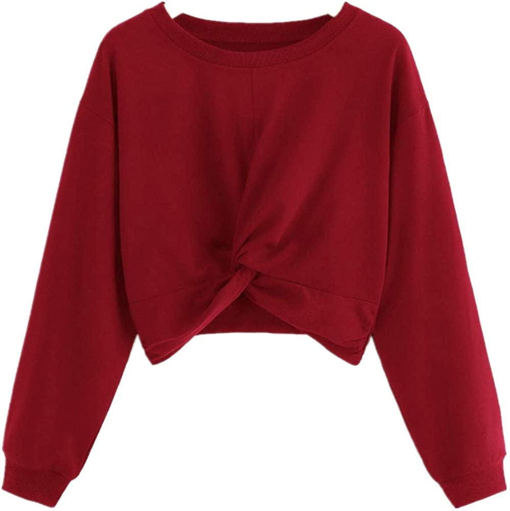 F_Gotal Sweatshirts for Women Long Popular product Sleeve Cut Crew Knot Regular discount Hem Neck