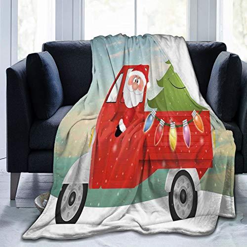 SURERUIM Manta De Tiro De Lana Suave,Navidad Papá Noel en Rojo camión Vintage con Divertido árbol de Navidad de Dibujos Animados y Coloridas Luces de Hadas PrintMulti,Home Hotel Sofá Cama Sofá Mantas
