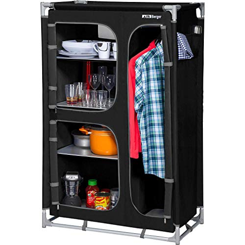 Berger Küchenbox Campingschrank L schwarz/grau Aluminiumgestell B 89 x H 140 x T 47,5 cm