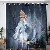 Elliot Dorothy Frozen Elsa and Anna - Cortinas aisladas con ojales, cortinas para oscurecimiento de habitación para niños y niñas, 55 x 45 cm