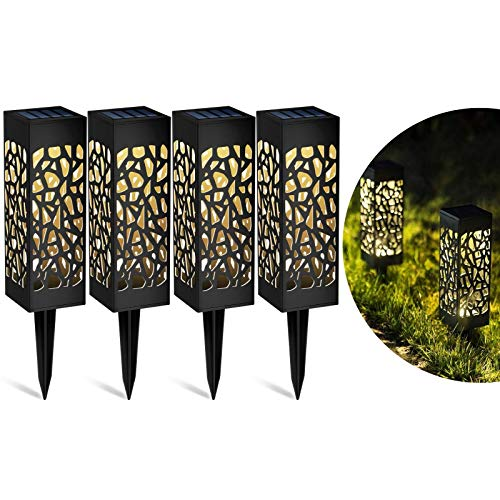 Solar Lights Outdoor Garden Stake, Warm White LED Lights and Waterproof Solar Ornament Lights for Patio Yard Pathway Dusk to Dawn Auto On/Off (4 Pack)