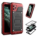 iPhone 11 Pro Max Case,Mangix Built-in Screen Defender Military Grade Drop Protection, Shock Protection Luxury Aluminum Alloy Protective Heavy Duty Shell for Apple iPhone 11 Pro Max 6.5'' (Red)