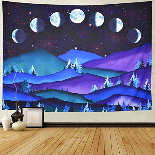 Moon Phases Tapestry Watercolor Mountain Tapestry Psychedelic Starry Night Stars Tapestry Forest Trees Tapestry Wall Hanging Lunar Eclipse Tapestry for Living Room W78 × H59