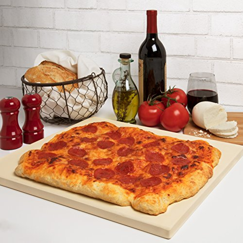"""Pizza Stone for Oven, Grill, BBQ- Rectangular Pizza Baking Stone- XL 16"""" x 14"""" Pan for Perfect Crispy Crust- Extra Thick 5/8"""""""