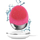 Gesichts Reinigungs Bürste,Bamboo-Kohle Sonic Technology&Anti-Aging Silikon Massagebürste, Wasserdicht Drahtloser Wiederaufladbarer Porenreiniger, Tiefenreinigung, Sanftes Peeling (Rot)