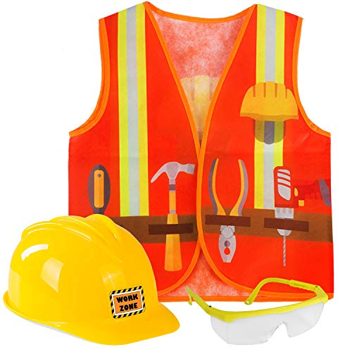 Tigerdoe Construction Worker Costume - Yellow Hard Hats for Kids - Construction Vest, Helmet & Safety Glasses - Construction Party - 3 Pc