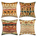 Yastouay Tribal Throw Pillow Covers African Woman Decorative Pillow Cases Set of 4 African Egyptian Women Pillow Covers Traditional Folk Cotton Linen Home Decor Cushion Cover, 18 x 18 Inches