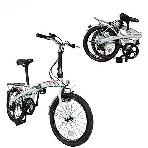 Xspec 20' 7 Speed Folding Compact City Commuter Bike, White