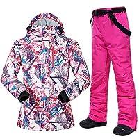 スキー服 スキースーツの女性の冬の雪のスーツ女性のスキーとスノーボードの服防風防水屋外スキージャケットとパンツの女性 スキースーツ (Color : E, Size : S)
