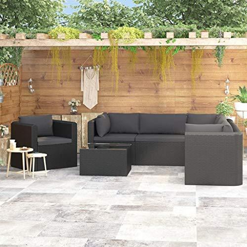 Tidyard - Conjunto de muebles de jardín de ratán con sofá de esquina, sofá central, cojín de asiento, cojín de respaldo, mesa de café con tablero de cristal, Style--A