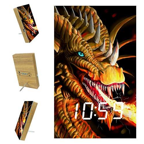 Indimization LED Reloj Despertador Dragón Spitfire Reloj de Madera Reloj Digital Despertador Oficina Hora Pantalla Adecuado para Estudiantes de niños y niñas 6.2x3.8x0.9 in