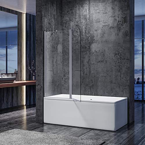 SONNI duschwand für badewanne 2 teilig Spritzschutz badewanne duschabtrennung 120x140cm,6mm Klarglas Duschtrennwand badewannenaufsatz