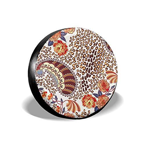 MODORSAN Flower Leopard - Cubierta Universal para Llantas de Repuesto, Protectores de Llantas Impermeables a Prueba de Polvo para Jeep, remolques, vehículos recreativos, SUV y Camiones, 14 Pulgadas