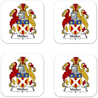 MyHeritageWear.com Walker Family Crest Square Coasters Coat of Arms Coasters - Set of 4