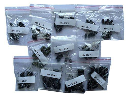 120pcs - 12 Values (1uF-470uF) Electrolytic Capacitors kit (50V 1uF)