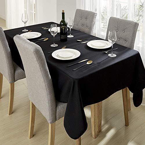 Deconovo Tafelkleden Rechthoekig Vlekbestendig Waterdicht Voor Keuken in Zwart Oxford-stof 140x240cm
