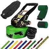 ALPIDEX Slackline 15 m 2t + 2 x Protector de árbol + Protector de trinquete, Color:Huella. Verde