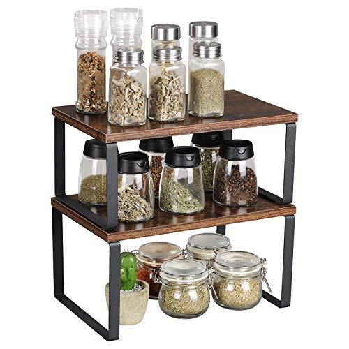OROPY 2er Pack Rustikale Regaleinsatz für Küchenschrank, Küchenregal Organizer, Stapelbar & Erweiterbares Lagerregal für Küchenzubehör, Geschirr, Konservendosen, Gewürze