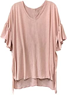 Aniywn Summer Tops! Womens Casual Solid Color Ruffles Short Sleeve Plus Size Tunic Tee Shirt