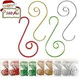 Jyukan Christmas Ornament Hooks 160 Pcs Christmas Tree Ornament Hangers Hooks for Christma...