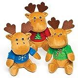 Baker Ross Reindeer Christmas Jumper Plush Pals - Juguetes novedosos para niños, Fiesta, botín o Bolsa de premios (Paquete de 3)