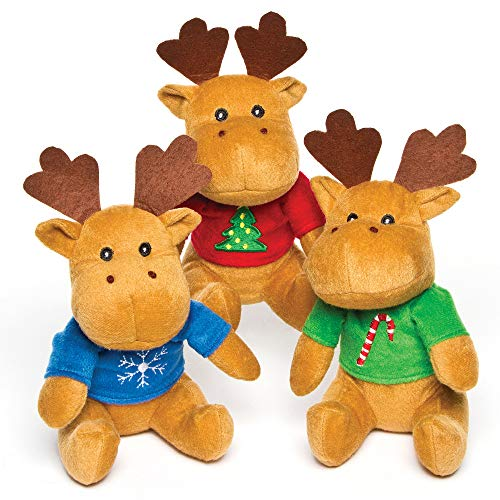 Baker Ross AF816 Reindeer Christmas Jumper Plush Pals — Novelty Toys for Kids, Perfect Party, Loot or Prize Bag Filler (Pack of 3), Assorted