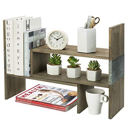 MyGift Vintage Reclaimed Style Rustic Brown Wood and Galvanized Metal Adjustable Desktop Organizer Bookcase Display Shelf