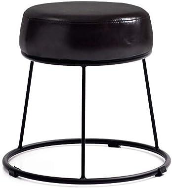 Carl Artbay Footstool PU Black Cushion High 36cm Soft Surface Thickening Household Stool Dressing Stool Round Stool Small Bench Iron Stool Home