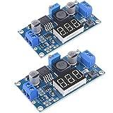 NewHail 2 Pcs Adjustable LM2596S DC-DC Buck Converter 4-40V to 1.25-37V Step-Down Regulator Power Module Volt Stabilizer with LED Digital Voltmeter Display