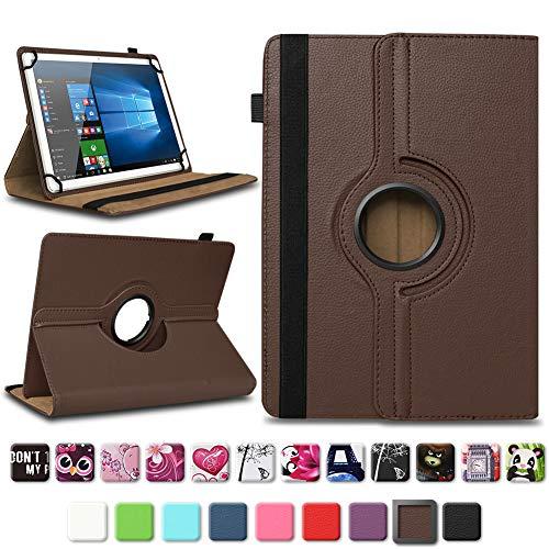 NAmobile Tablet Tasche kompatibel für Blaupunkt Atlantis A10.G402 A10.G403 Hülle Schutzhülle Tablettasche mit Standfunktion 360 Crad drehbar Universal Tablethülle, Farben:Braun