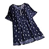 JURTEE Fashion Women's Shirt Tops Plus Size Casual O-Neck Cotton and Linen Stitching Cat Print Short Sleeve T-Shirt Blouse Size 14-26 Navy