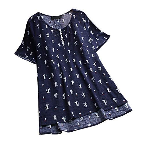 iHENGH Damen Bequem Mantel Lässig Mode Jacke Frauen Frauen mit Langen Ärmeln Vintage Floral Print Patchwork Bluse Spitze Splicing Tops(Marine-b, 2XL)