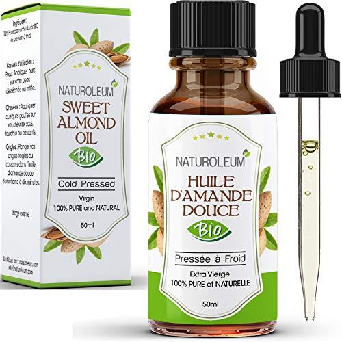 HUILE D'AMANDE DOUCE 100% BIO, pure et naturelle, pressée à froid- Extra Vierge - soin du corps peau visage cheveux, vegan, 50 ml