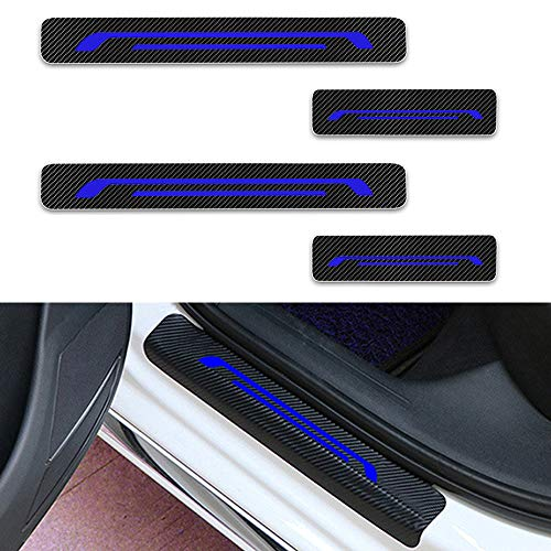 Für KA Focus Mondeo Ranger Raptor Fiesta Einstiegsleisten Schutz Aufkleber,Verschleiß vermeiden Verhindern Sie Kratzer Rutschfest Kohlefaser 4Stück Blau