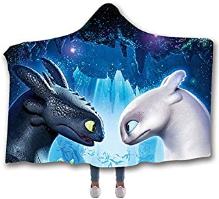 MUMULA How to tr-ain Your Dragon Too-thless Dragon 15 Hooded Throw Blanket Soft Cloak Wearable Hooded Blanket for Adult and Kids