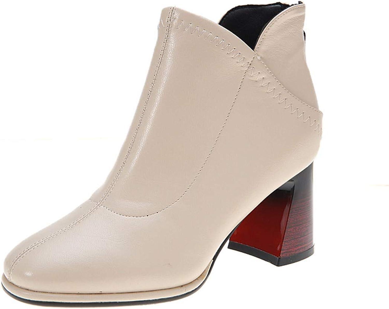 AJUNR Donna tuttia Moda a Breve Gli Stivali Alto 8cm Tacco Alto Stivaletti Spessi e Posteriore Zip Legno e Testa Quadrata Chelsea stivali
