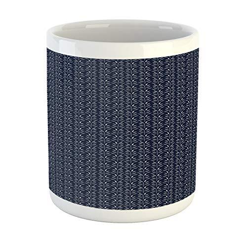 Lunarable blaue und weiße Tasse, einfarbige Kräuterblätter-Muster, organische Estragon-Silhouetten, Keramik-Kaffeetasse für Wasser, Tee, Getränke, 325 ml, Weiß Blau