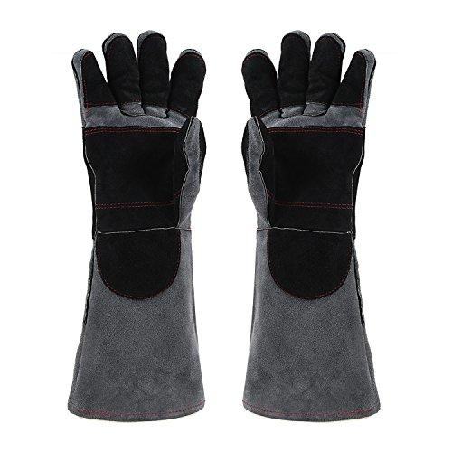 HOGAR AMO Schweißerhandschuhe Leder 16 Inch Hitzefest Grill Handschuhe Lange Ärmel BBQ Schweißen Handschuhe Grau+Schwarz