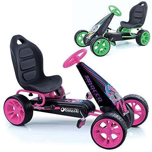 Hauck Go-Kart Sirocco für Kinder von 4-12 Jahren , Tretauto mit automatischer Freilaufschaltung , Verstellbarer Schalensitz , Kugelgelagerte Räder , EVA-Bereifung - Pink